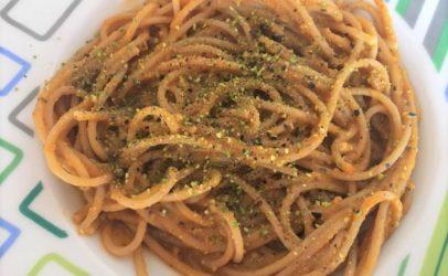 Spaghetti in crema di zucca e pistacchio